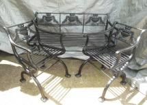 Antique Cast Iron Regency Garden Set Bench And Chairs