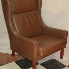 Modern Wing Chair King Sugar Land Leather In Danish Børge Mogensen Style