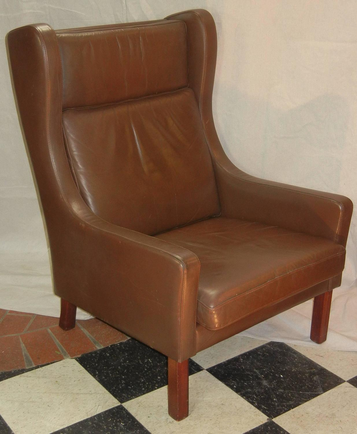 Modern Wing Chair Leather Wing Chair In Danish Modern Børge Mogensen Style