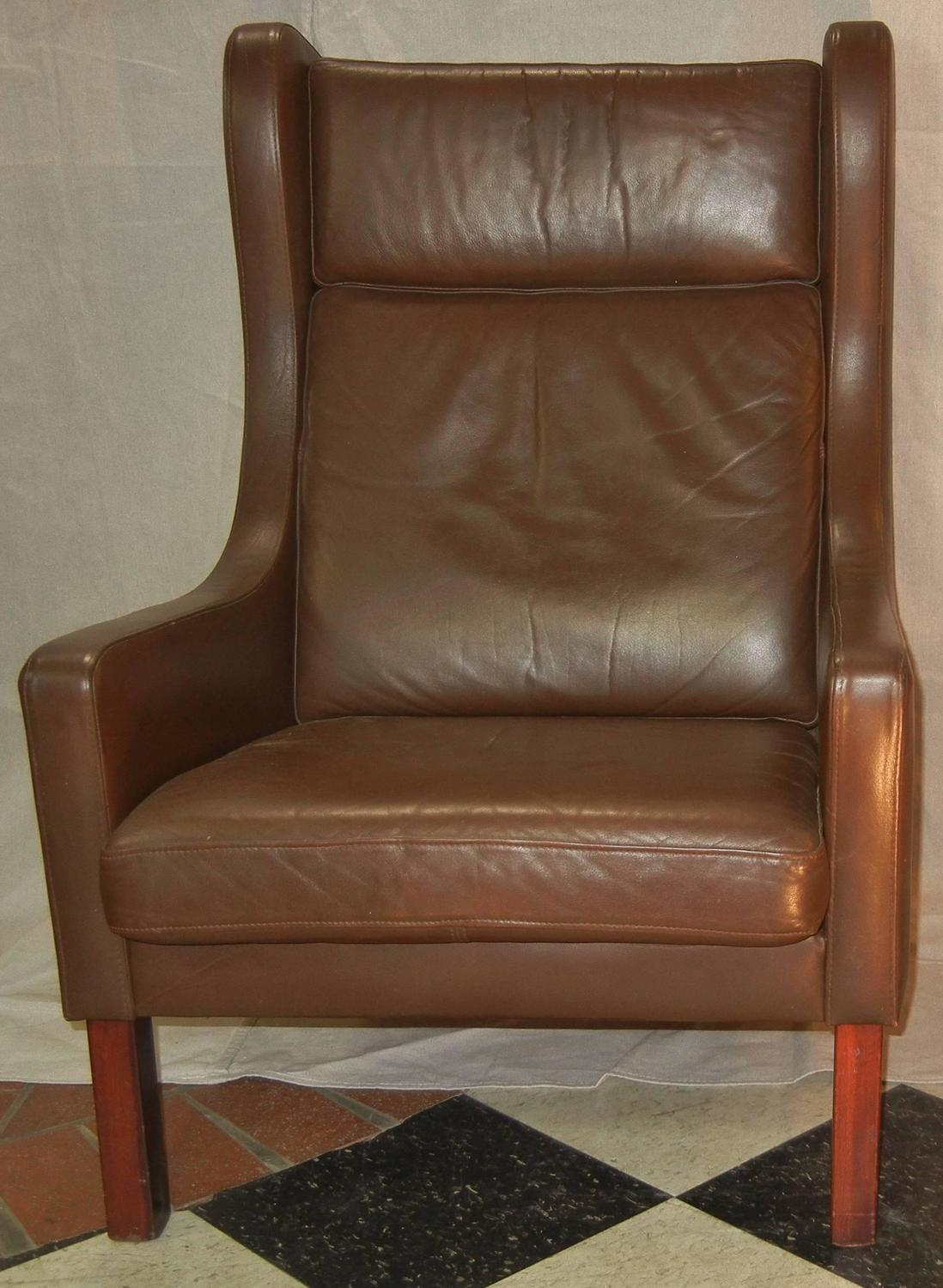 modern wingback chairs for sale round fold up chair leather wing in danish børge mogensen style