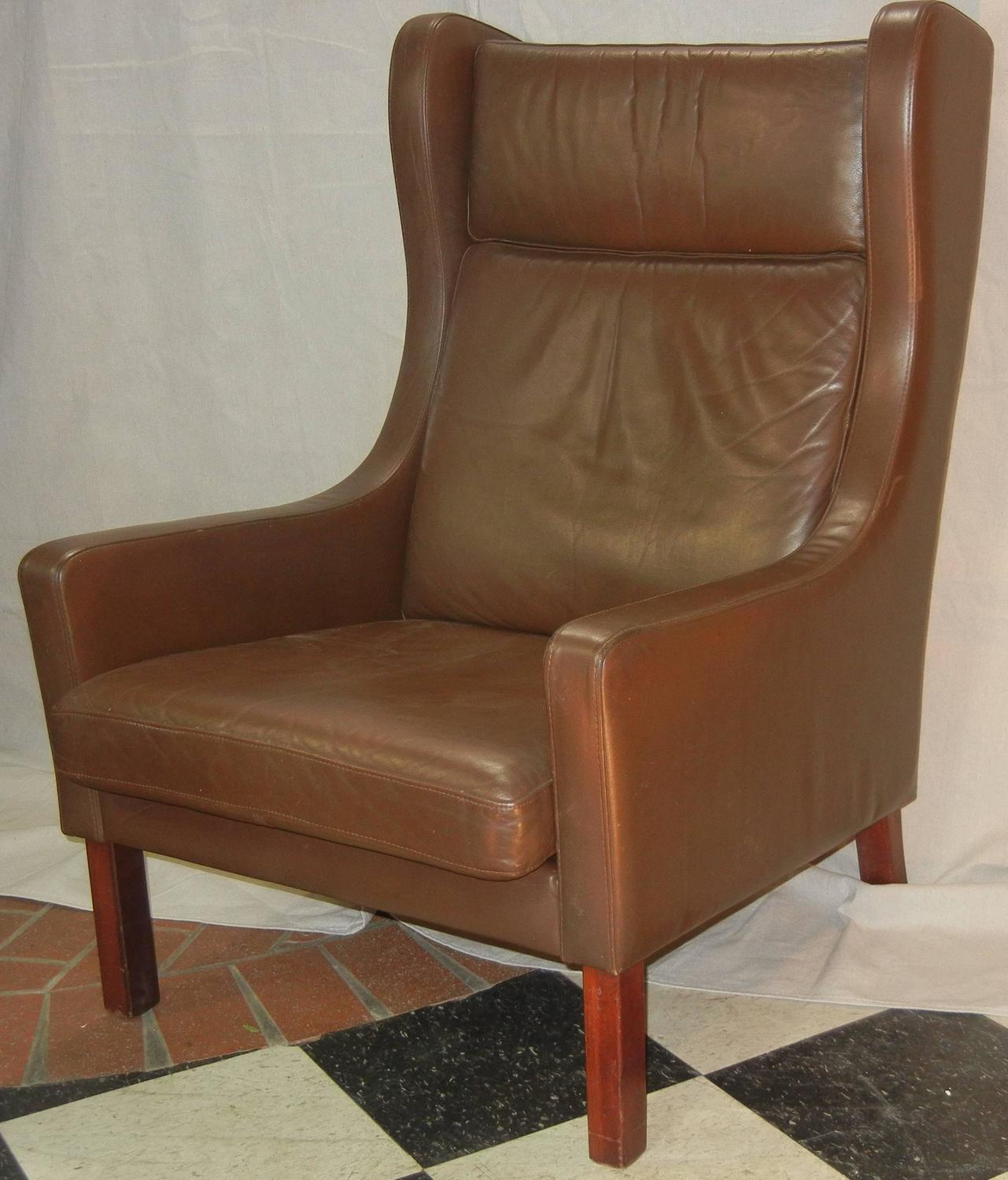 modern wingback chairs for sale retro office chair leather wing in danish børge mogensen style