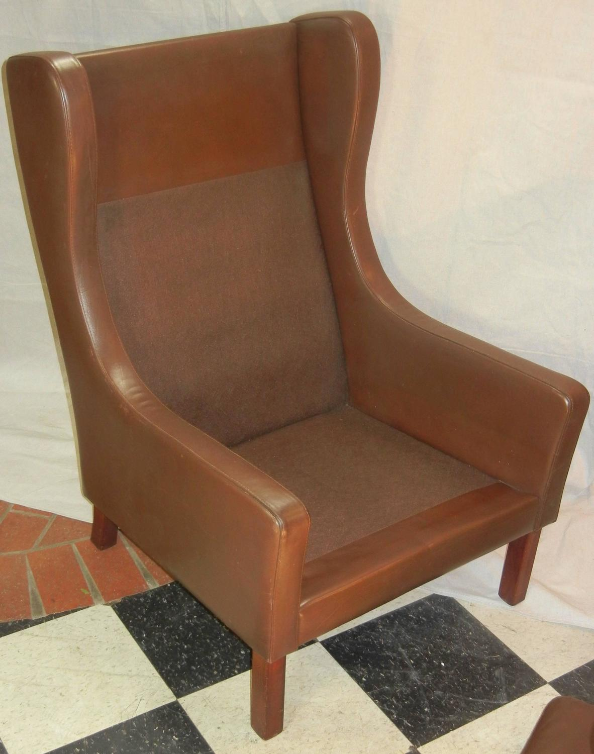 modern wingback chairs for sale small dining room with arms leather wing chair in danish børge mogensen style