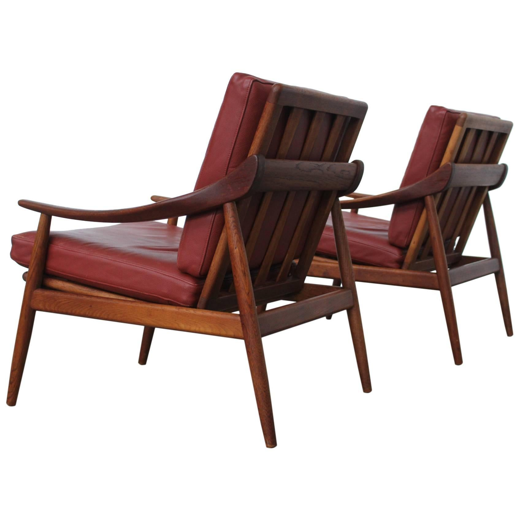 teak lounge chair reclining club pair of kurt ostervig for jason mobler leather and chairs sale