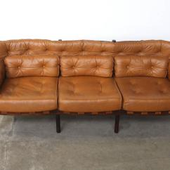 Camel Tufted Sofa Chaise Hollywood Regency Curved Leather Colored Three Seat Arne Norell