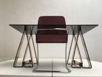 1970s Smoked Acrylic and Glass Trestle Desk, Lucite and ...