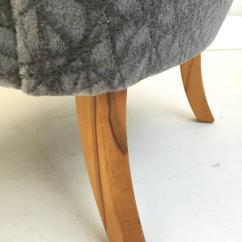 Grey Velvet Slipper Chair Silver Metal Bar Chairs Pair Of 1950s Tijsseling In Geometric