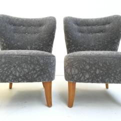 Grey Velvet Slipper Chair White Kitchen Pair Of 1950s Tijsseling Chairs In Geometric