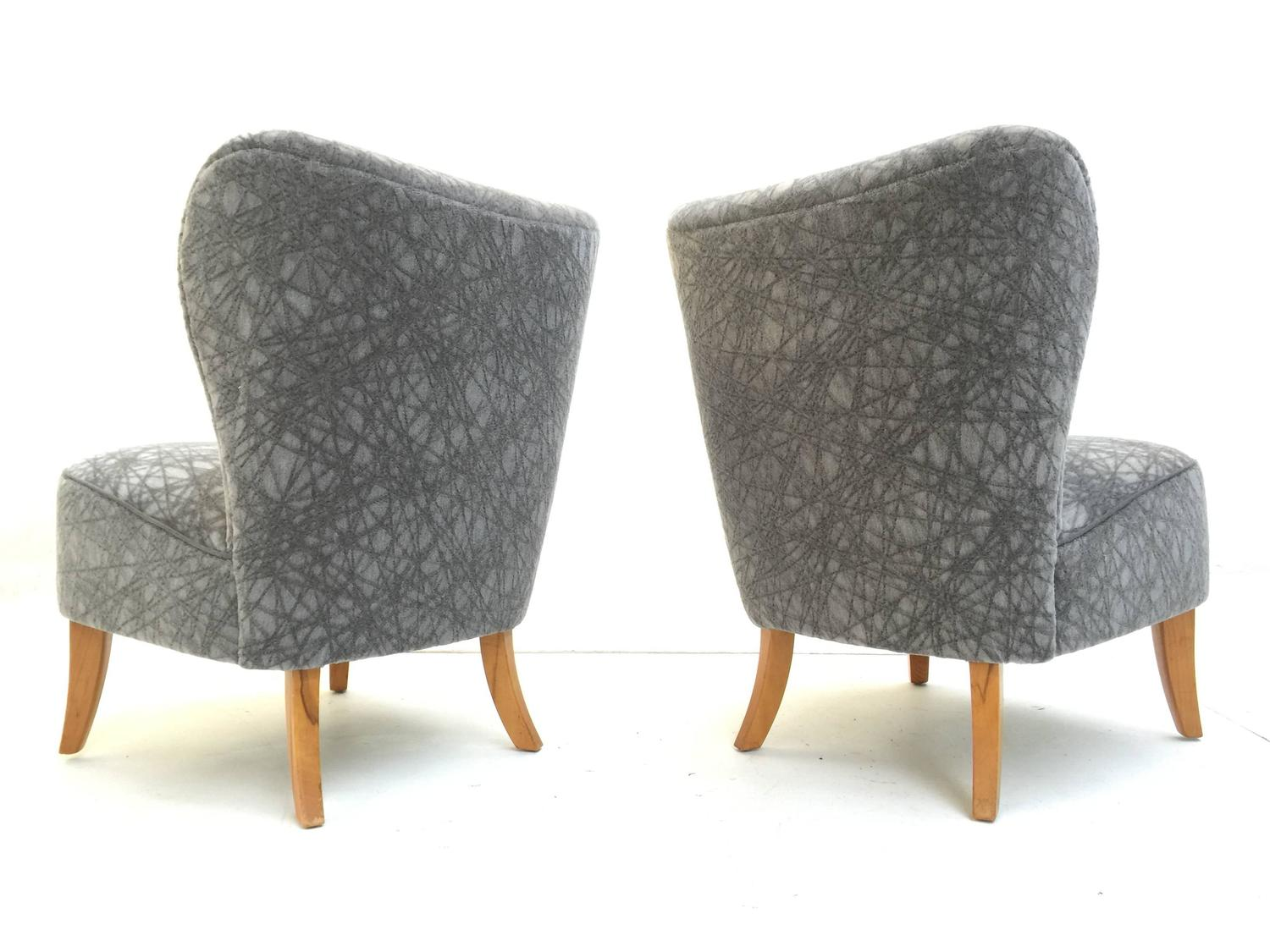 grey velvet slipper chair aniline leather lounge and ottoman pair of 1950s tijsseling chairs in geometric