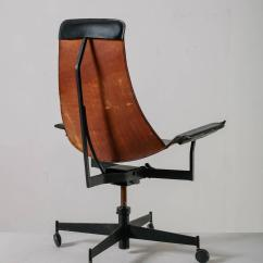 Leather Sling Chairs Cheap Rocking For Outside William Katavolos Swiveling Black Chair Usa