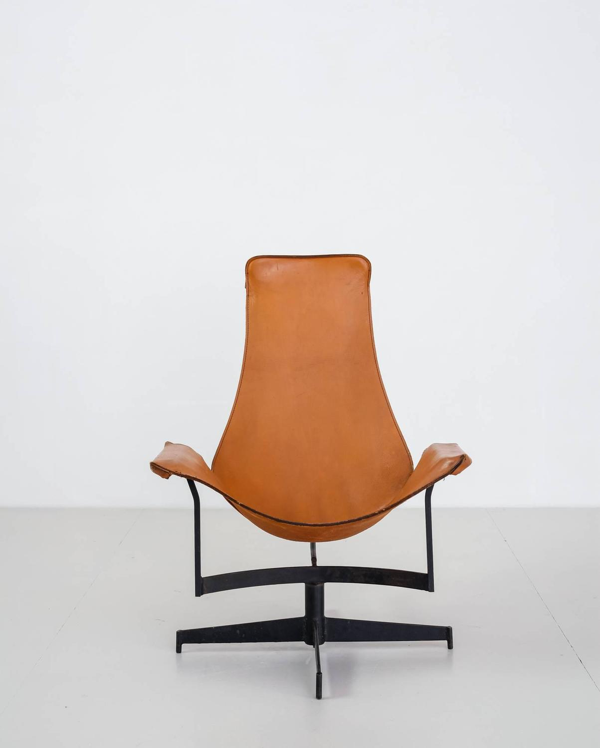 leather sling chairs for dining room tables william katavolos swiveling brown chair usa