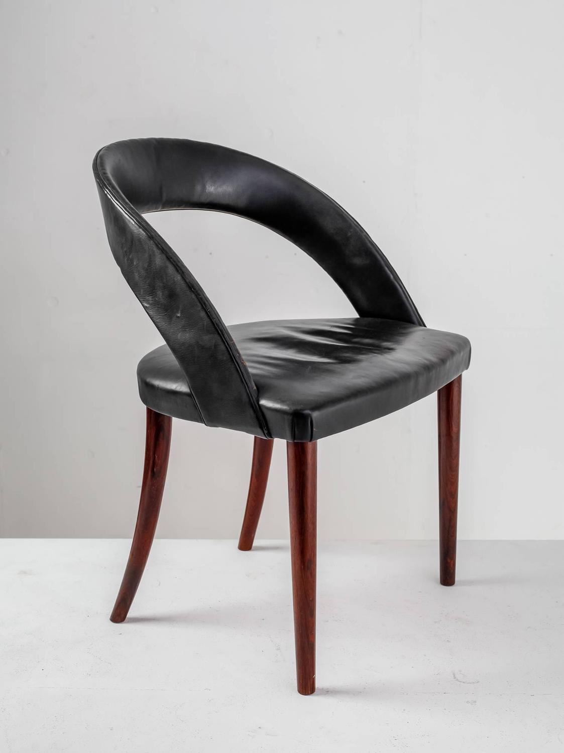 Frode Holm Rosewood and Black Leather Vanity Chair