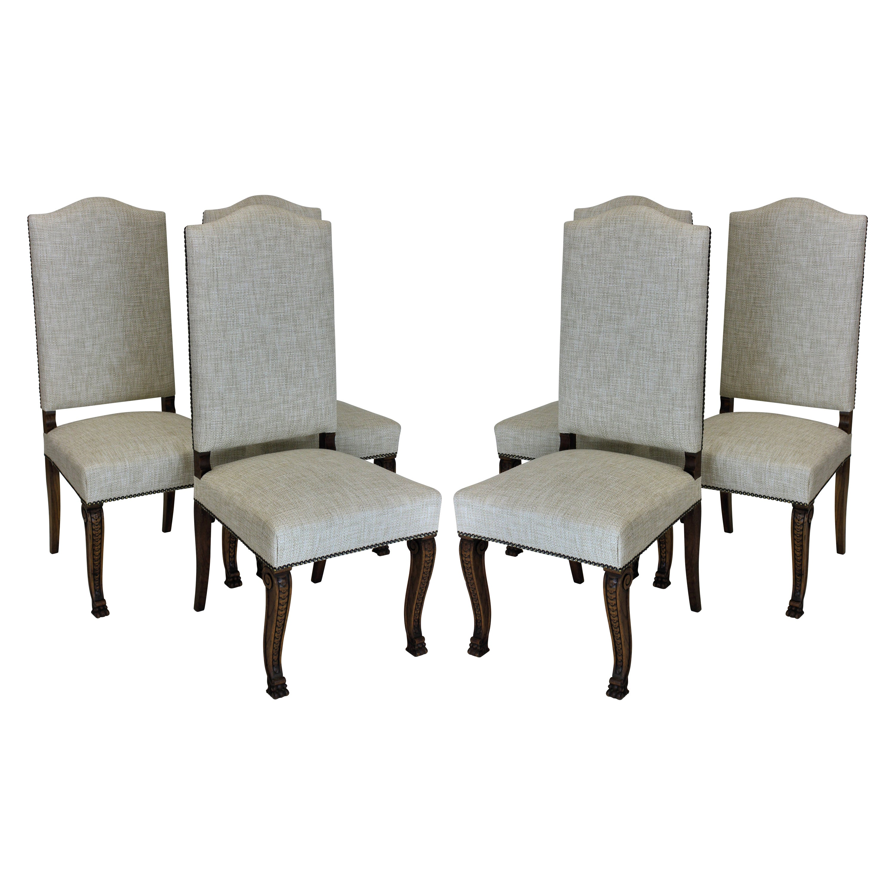Studded Dining Chairs Six French High Back Dining Chairs