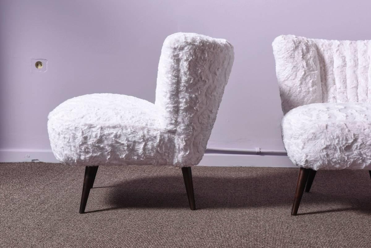 faux fur chair cover bamboo saucer pair of cocktail chairs in for sale at 1stdibs