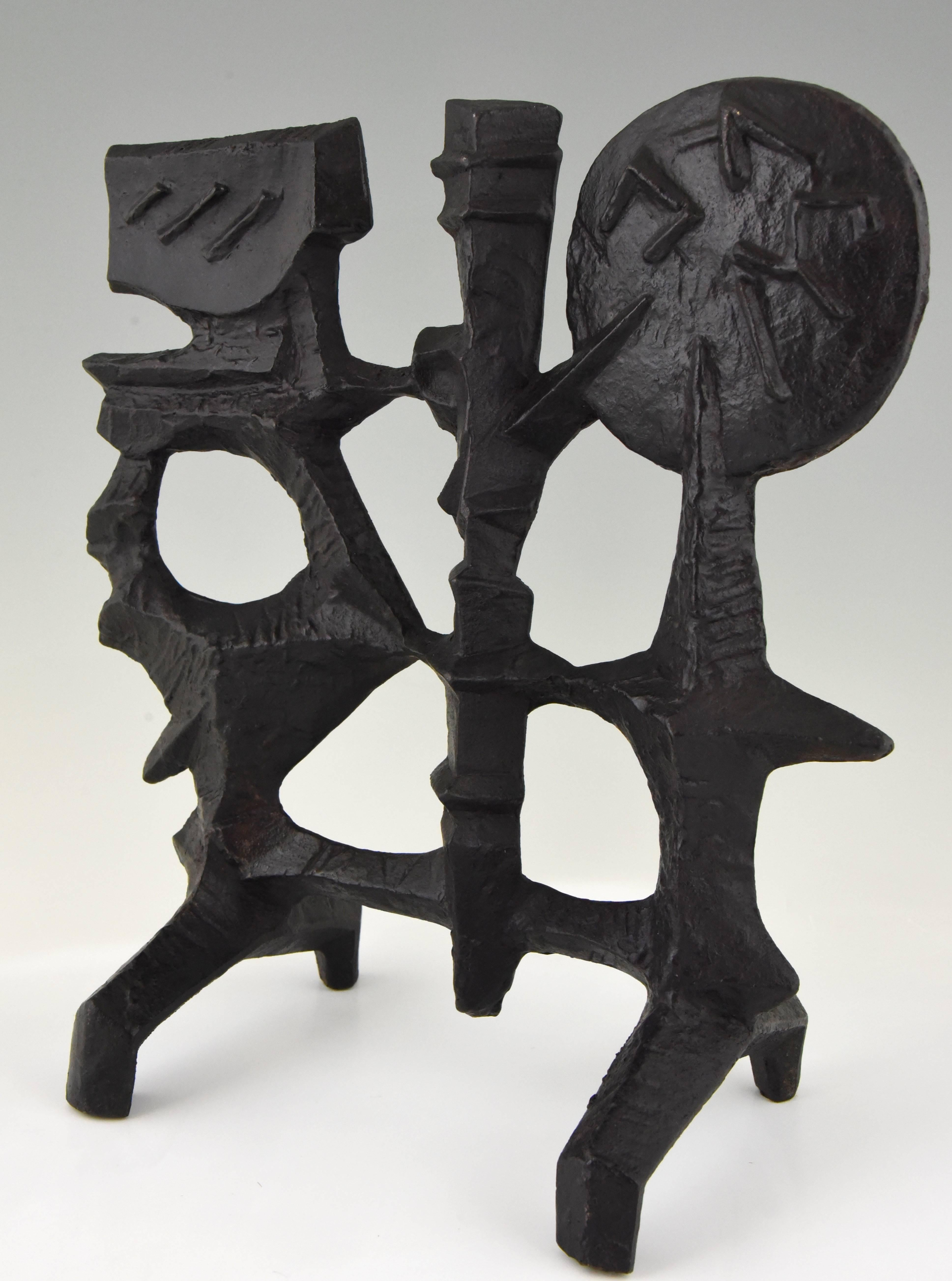 Mid Century Modern Abstract Iron Sculpture By Olle Hermansson 1960