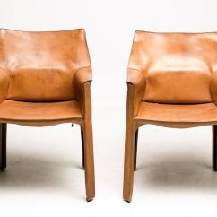 Mario Bellini Chair Bean Bag Stool Pair Of Saddle Leather Cab Chairs Cassina
