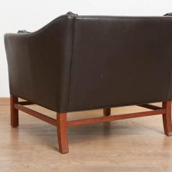 Leather Slipper Chair Chocolate Adirondack Plastic Canada Excellent Set Of Three Danish Modern Brown Lounge Chairs, Sitting Group At 1stdibs
