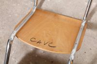 Set of Six Plywood Cantilever Tubular Chrome Chairs, 1960s