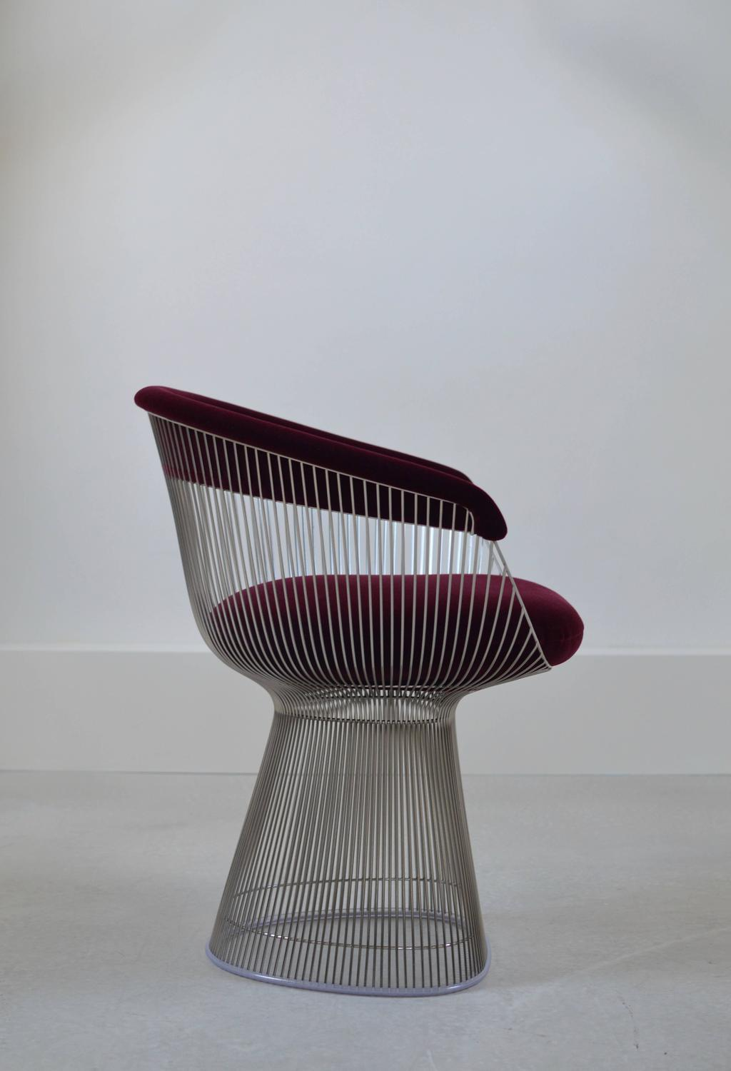 mid century modern wire chair exercise ball office target burgundy velvet warren platner for knoll sale at 1stdibs