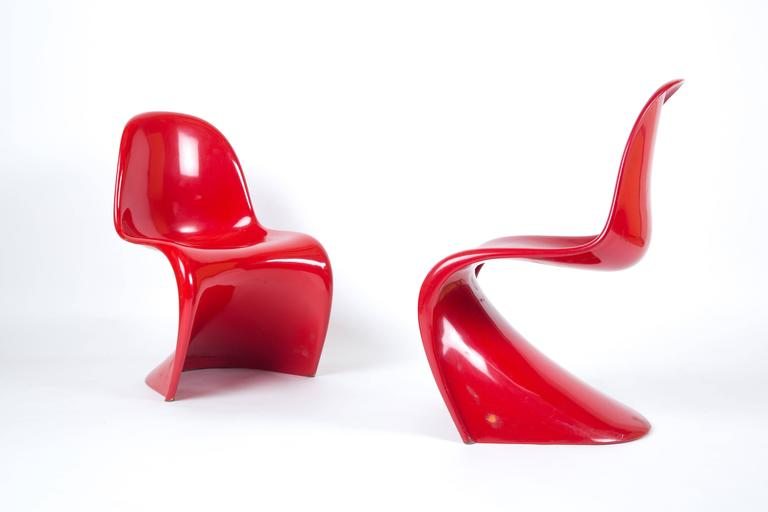 panton s chair fluffy desk set of two verner chairs first edition polyester glasfiber mid century modern