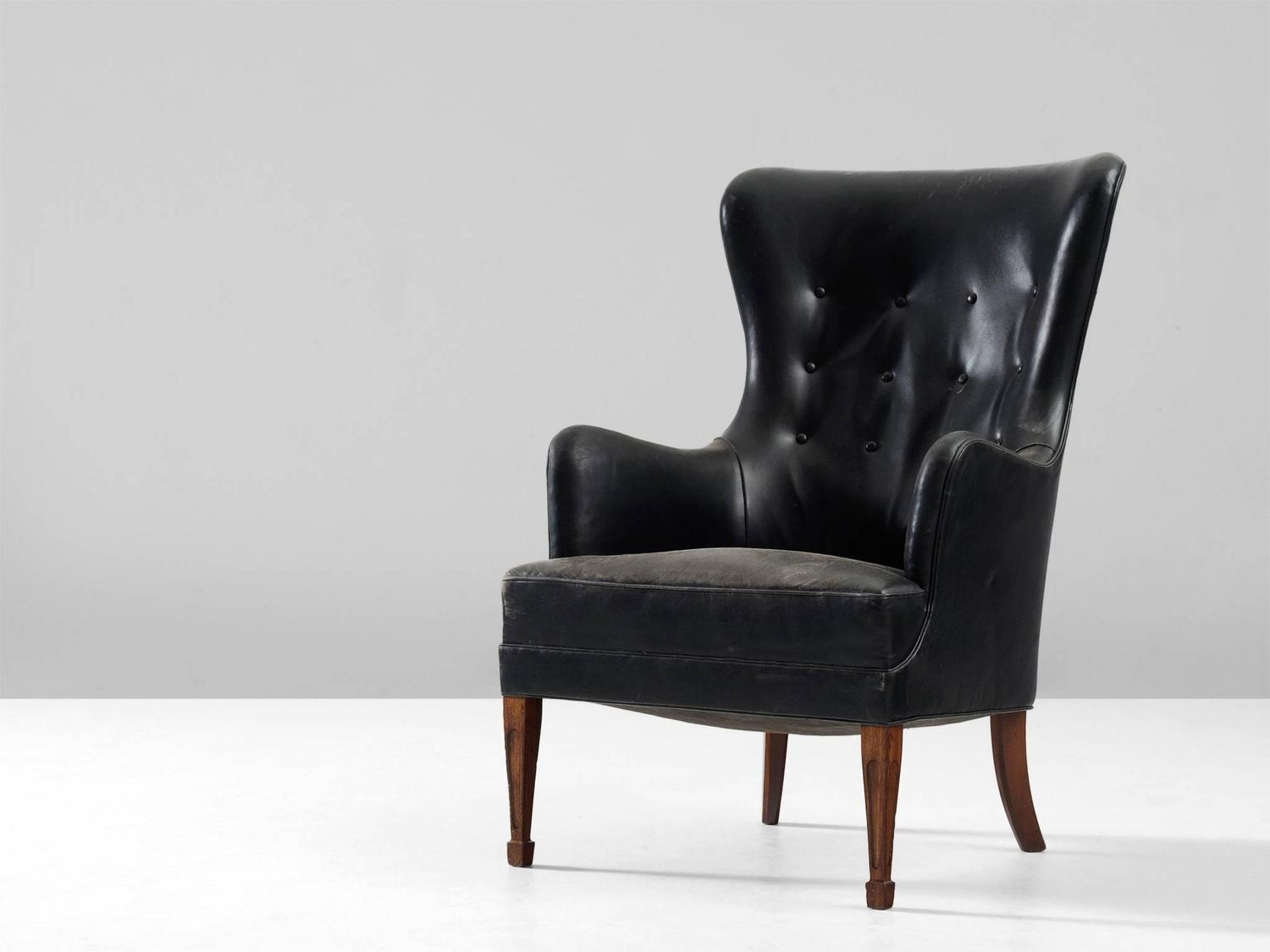 black leather wingback chair where can i rent covers near me frits henningsen in mahogany and