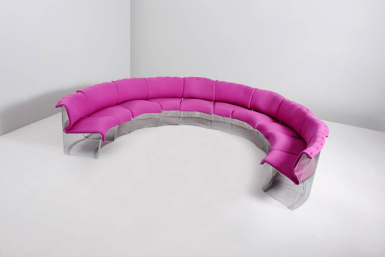 pink panton chair giant bean bag verner 39pantonova 39 sectional sofa for fritz hansen