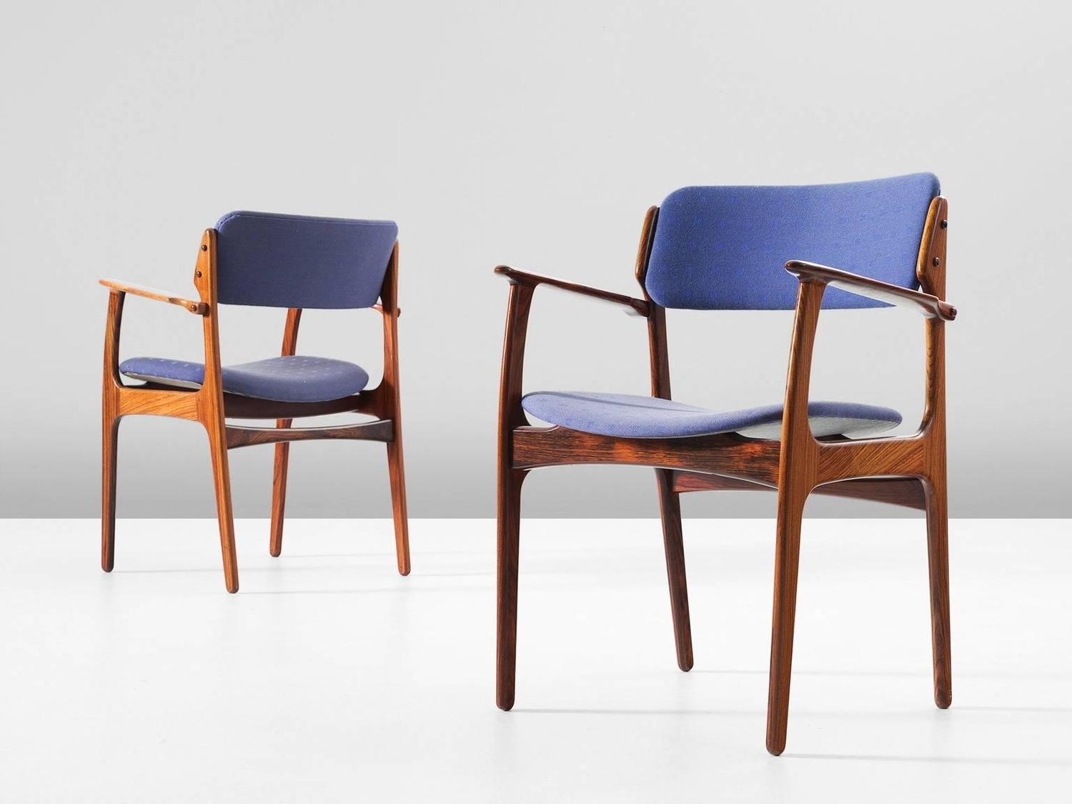 erik buck chairs cozy reading chair set of eight dining in rosewood and blue