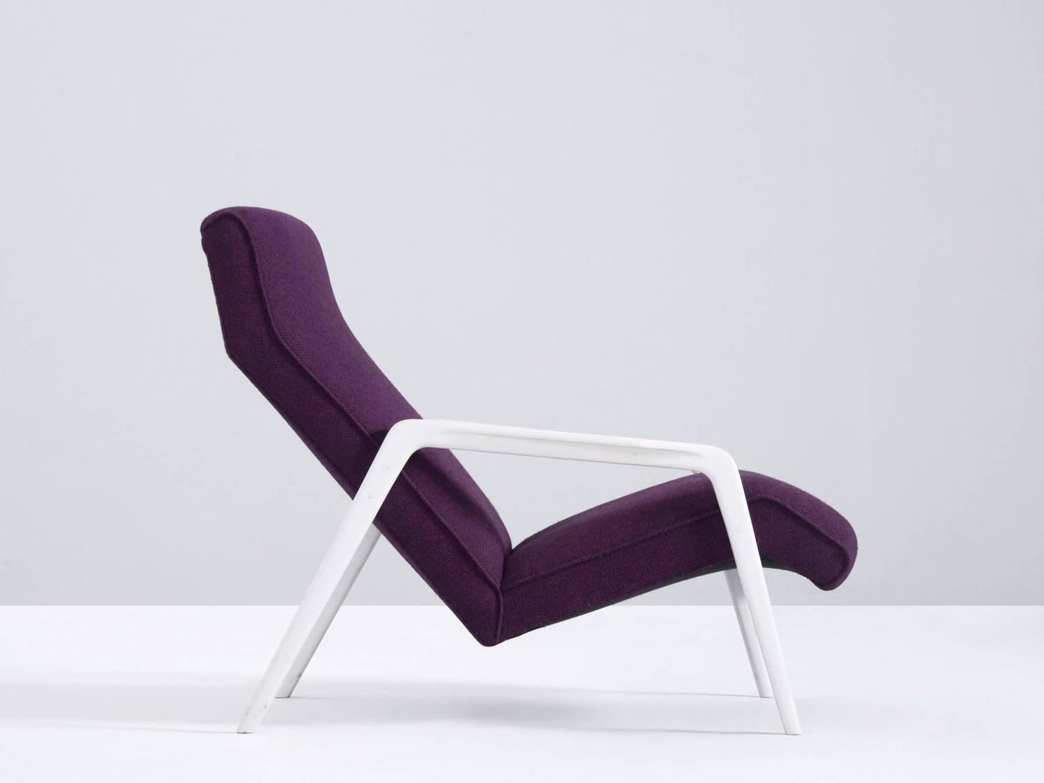 purple chaise lounge chair west elm dining chairs scandinavian in upholstery for sale at