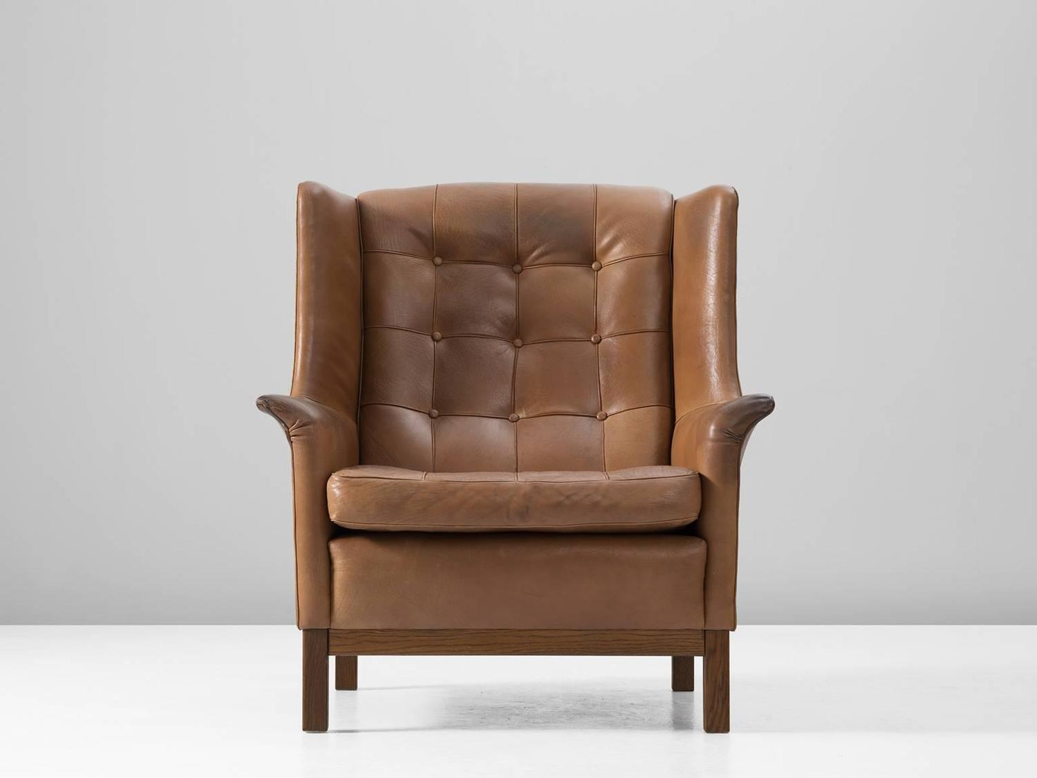 buffalo leather chair evenflo high arne norell back in patinated cognac