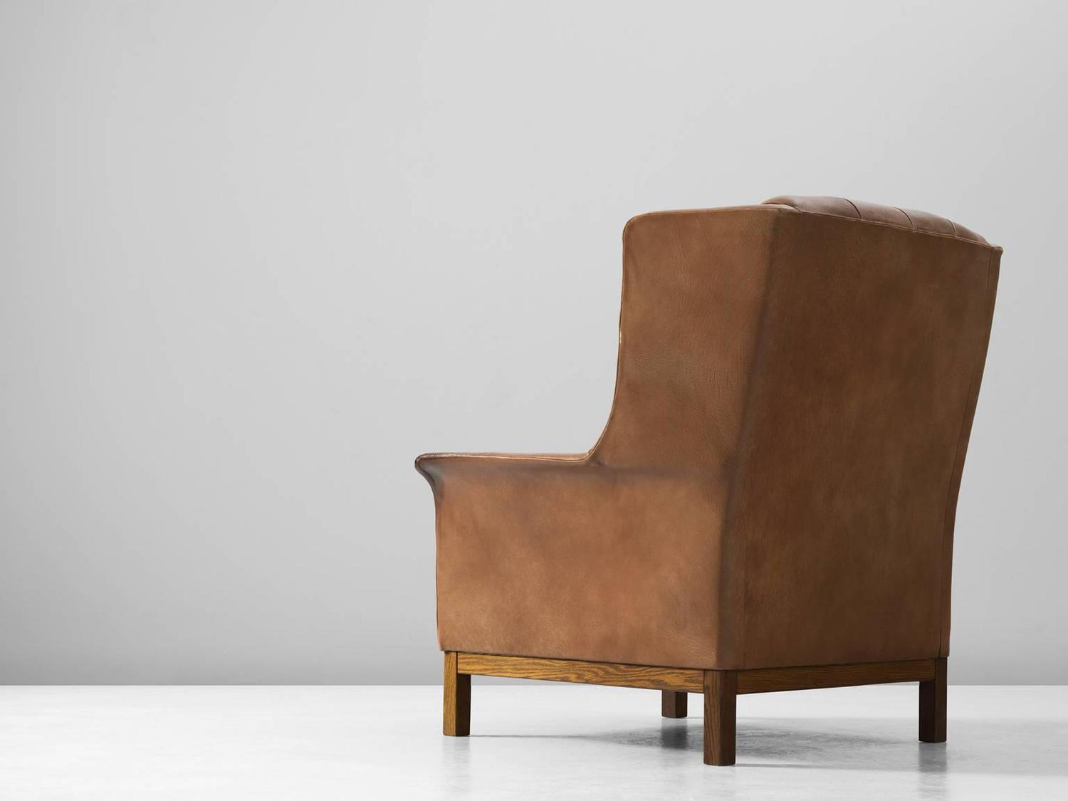 buffalo leather chair dining covers for sale arne norell high back in patinated cognac