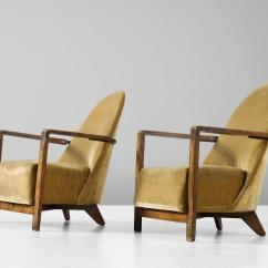 Yellow Club Chair Fit Gym Ball Pair Of Dutch Art Deco Chairs In Upholstery