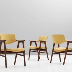 Yellow Upholstered Dining Chairs Gaming Chair Ebay Erik Kirkegaard Set Of 12 With Fabric