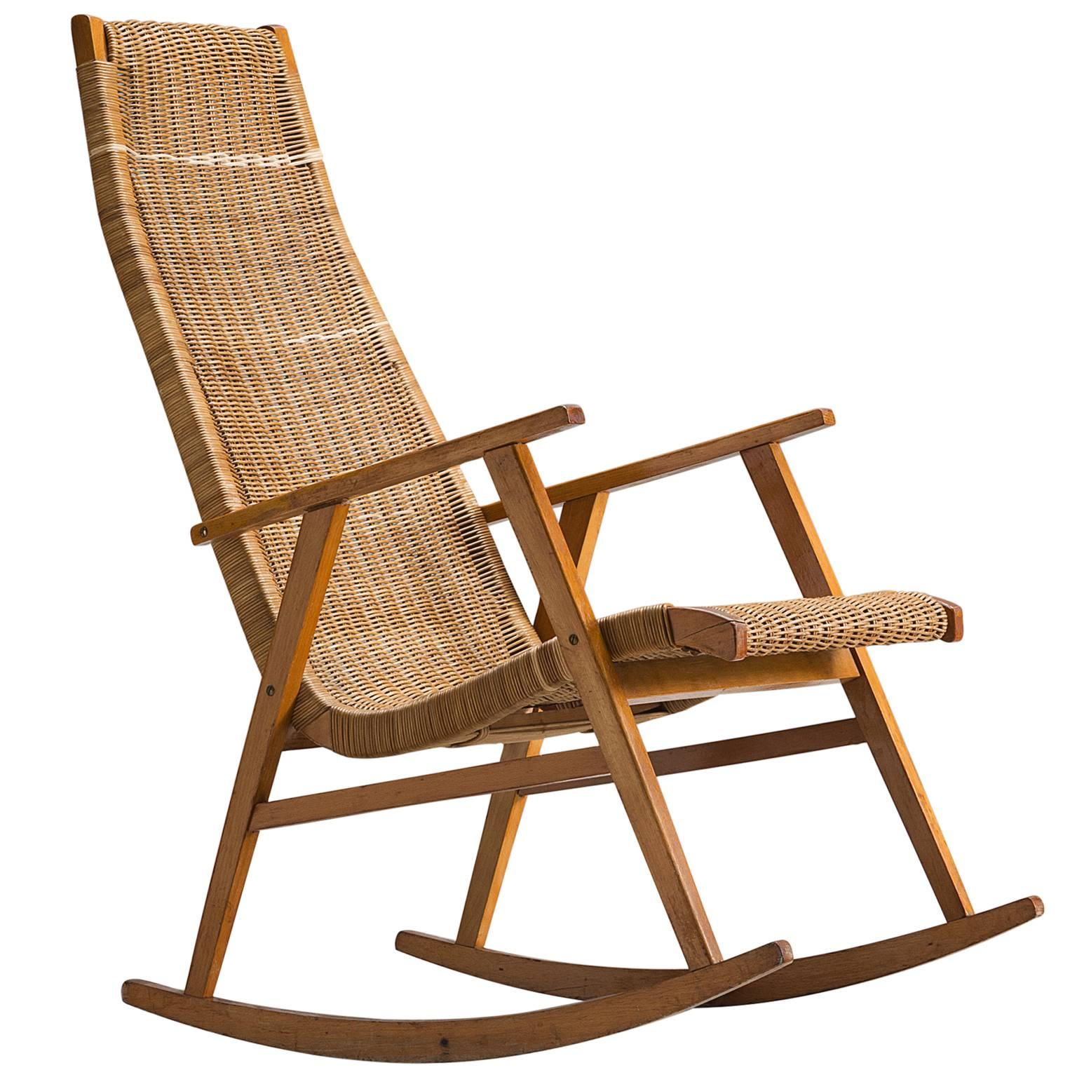 rocking chair cane outdoor plastic chairs dutch in 1950s for sale at 1stdibs