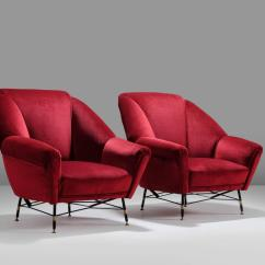 Red Lounge Chair 3 In One High Plans Italien Velvet With Accompanying Ottoman