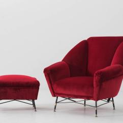 Red Chair And Ottoman Value City Furniture Chairs Italien Velvet Lounge With Accompanying
