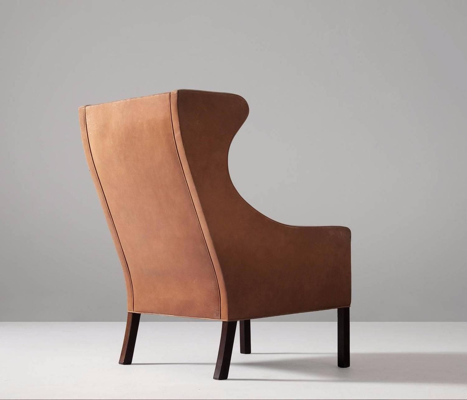 Brown Leather Wingback Chair Børge Mogensen Brown Leather Wingback Chair For Sale At