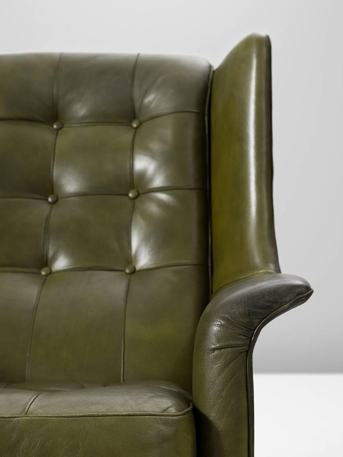 buffalo leather chair folding near me arne norell high back in patinated green