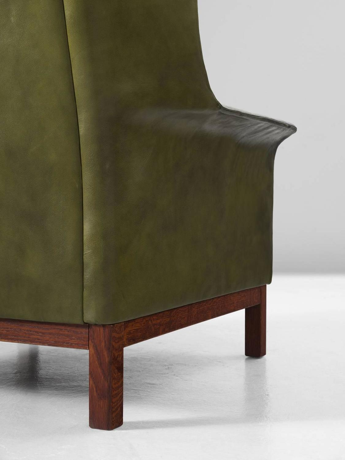buffalo leather chair farmhouse kitchen chairs arne norell high back in patinated green