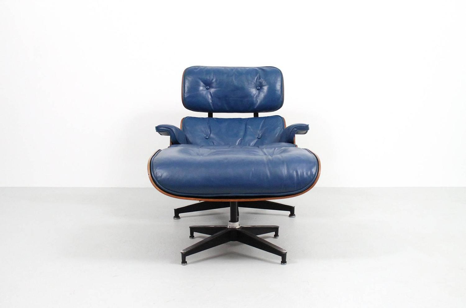 Blue Leather Club Chair Blue Leather Eames Lounge Chair And Ottoman For Sale At