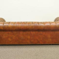 Tufted Leather Sofa With Rolled Arms Florence Knoll Uk Henredon Arm English Style Button Brown