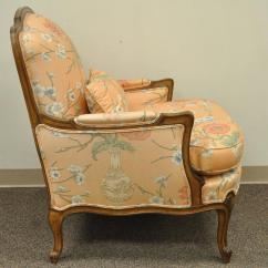French Bergere Chair And Ottoman Office Armless 1950s Country Louis Xv Style Shell Carved