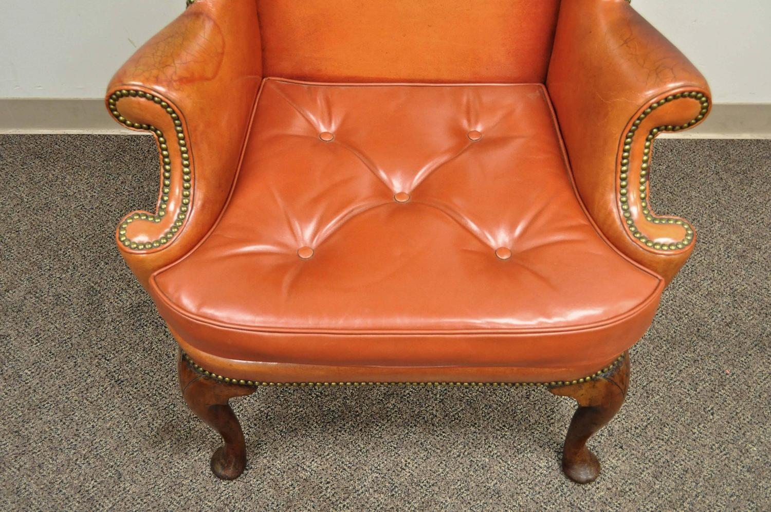Orange Leather Chair Antique 19th Century Burnt Orange Distressed Leather