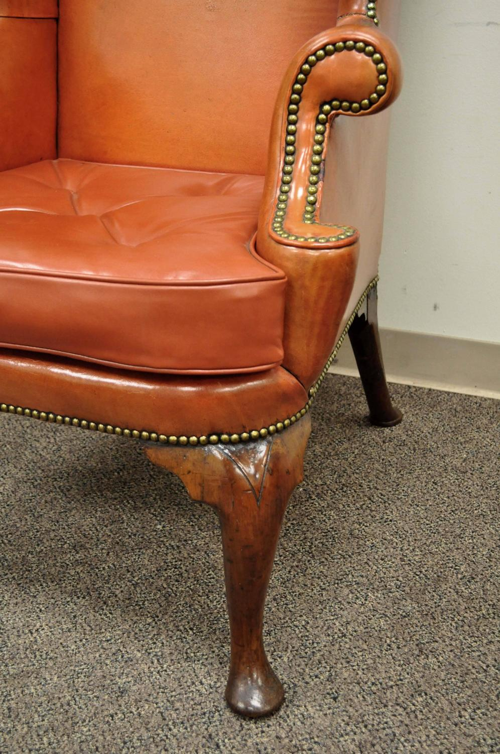 antique queen anne chair dining chairs on sale 19th century burnt orange distressed leather english wingback for at 1stdibs