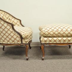 French Provincial Chair And Ottoman Leather Lounge Chairs Vintage Country Louis Xv Style Barrel Back Bergere