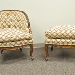 French Provincial Chair And Ottoman Leg Covers For Classrooms Vintage Country Louis Xv Style Barrel Back Bergere