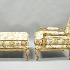 French Bergere Chair And Ottoman Lazy Boy Oversized Recliner Chairs Nancy Corzine Country Louis Xv Style Lounge