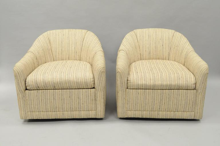 Pair of Upholstered Barrel Back Swivel Club Lounge Chairs