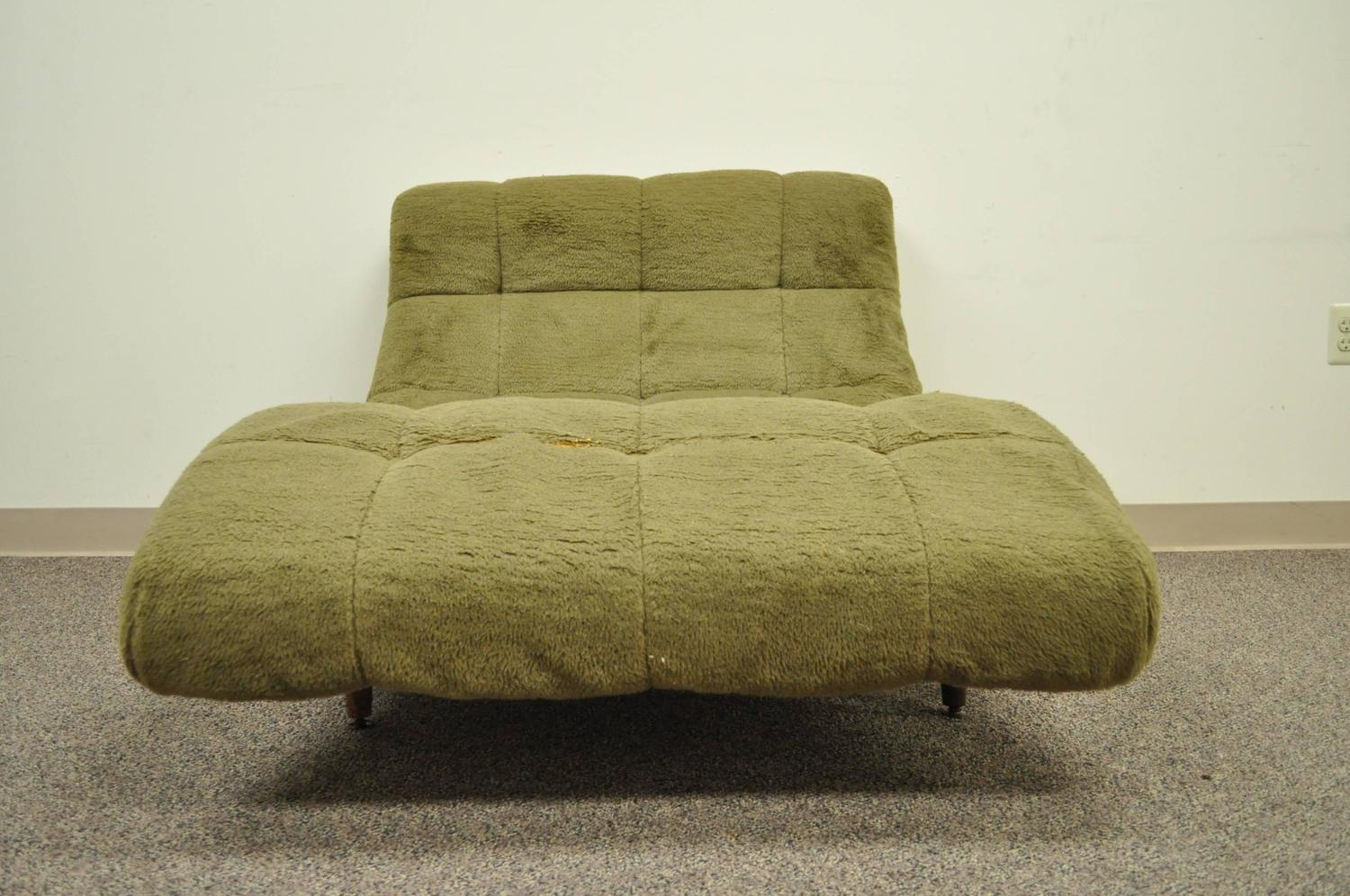 Double Wide Recliner Chair Midcentury Modern Double Wide Wave Chaise Lounge In The