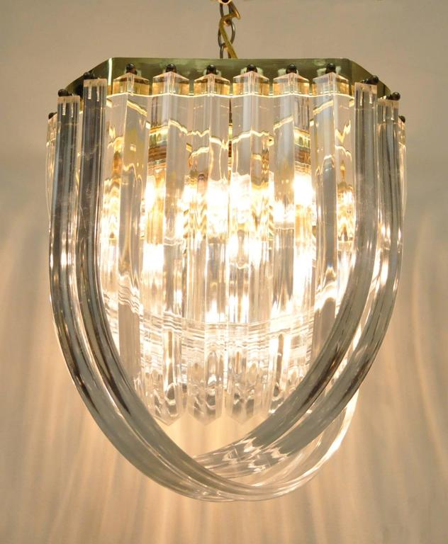 Vintage Mid Century Modern Hollywood Regency Lucite Ribbon Chandelier Truly Beautiful When