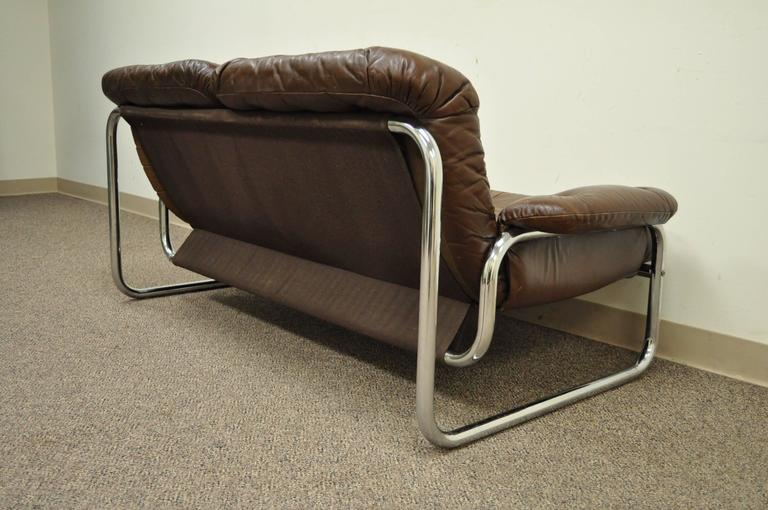 modern brown leather sofa chair recliner mid century tubular chrome settee after rodney kinsman in good condition for