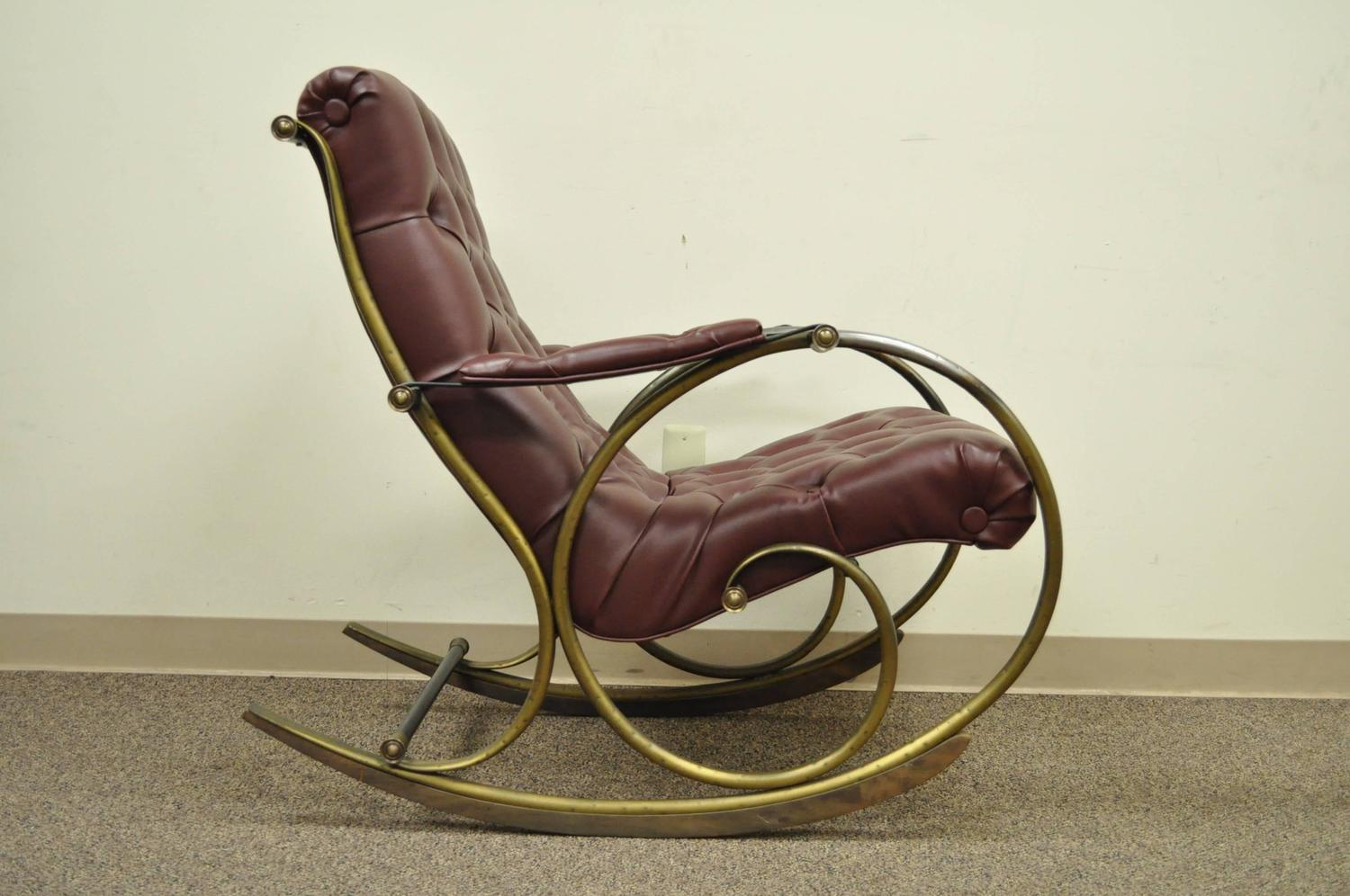 midcentury rocking chair classic covers bournemouth mid century lee woodard tubular brass or